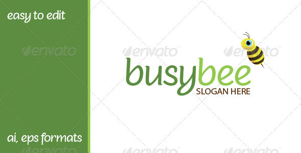 Busybee Logo For Cleaning Or Children Business - Objects Logo Templates