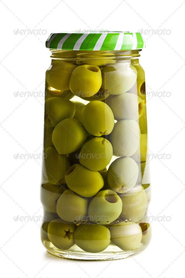 green olives in glass jar - Stock Photo - Images