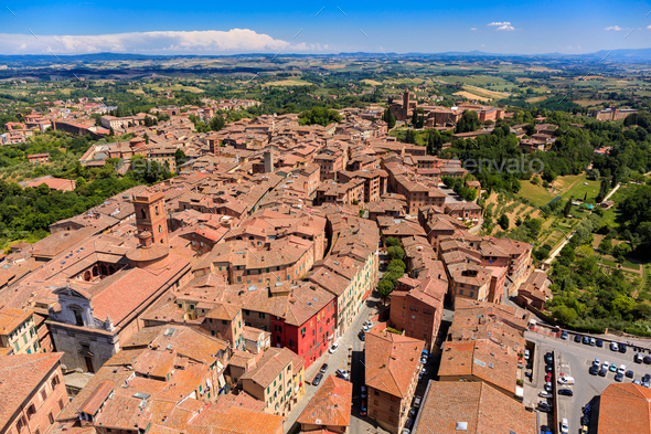 Aerial view of Siena old town, medieval town with ancient architecture, Tuscany, Italy - Stock Photo - Images