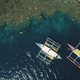 Top down of boats at green mount ocean coast aerial view. Epic summer landscape with vessels - PhotoDune Item for Sale