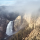 Lower Yellowstone River Falls waterfall in clouds. - PhotoDune Item for Sale