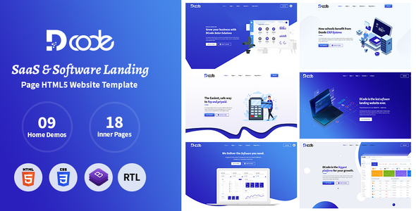 DCode – SaaS & Software Responsive Landing Page Template
