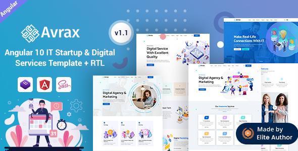 Avrax - Angular 10+ IT Startup & Digital Solutions Template
