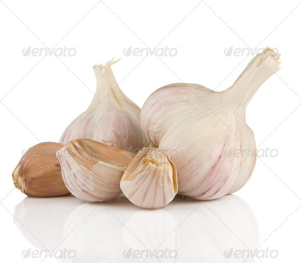 garlics isolated on white - Stock Photo - Images