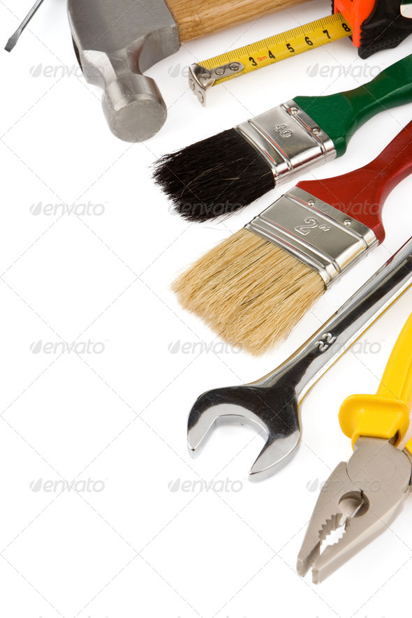 tools and instruments isolated on white - Stock Photo - Images