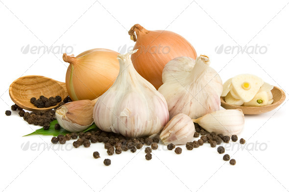 garlic, onion and pepper isolated on white - Stock Photo - Images