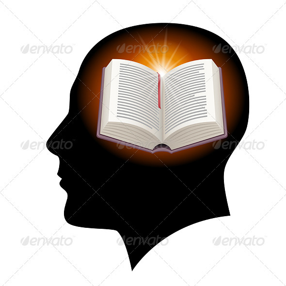 Male head with open book - Conceptual Vectors
