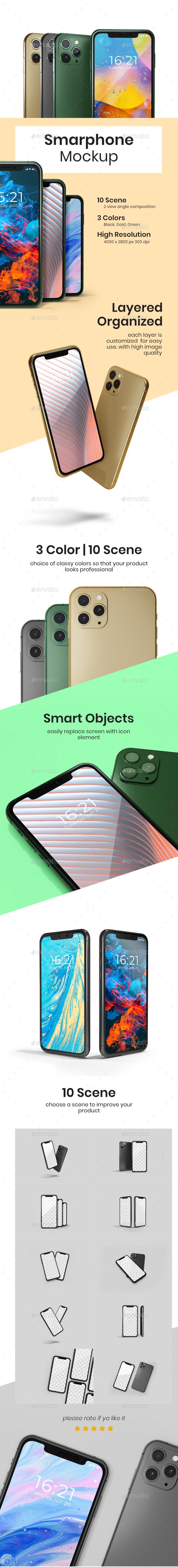 Smartphone Mock-ups PSD in 3 Colors