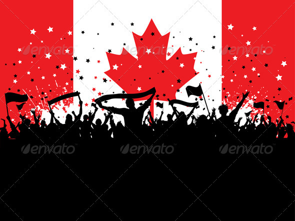 Party crowd on Canadian flag - People Characters