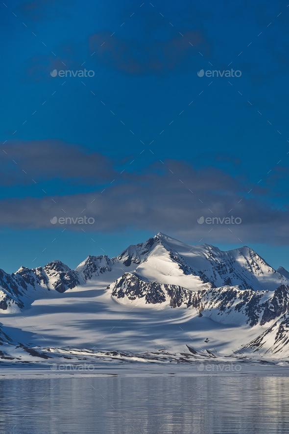 Snowcapped Mountains, Oscar II Land, Arctic, Svalbard, Norway - Stock Photo - Images