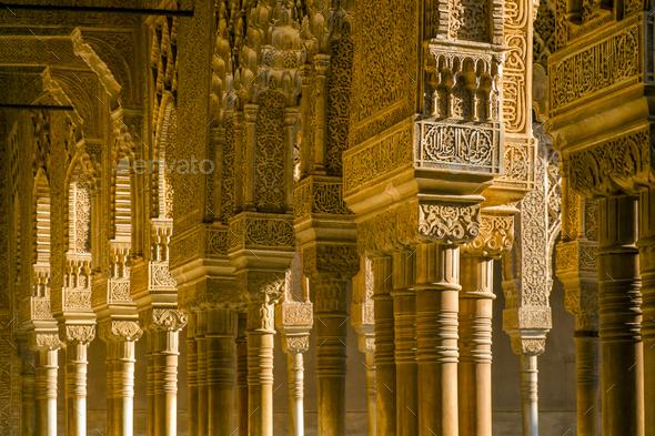 Ornate pillars in Alhambra, Granada, Andalusia, Spain - Stock Photo - Images