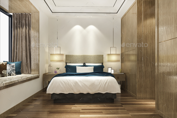 3d rendering luxury modern bedroom suite in hotel with wardrobe - Stock Photo - Images