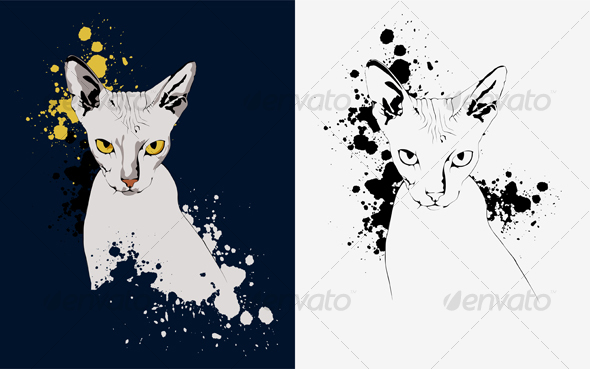 Portrait of a Cat on an Abstract Background, Yello - Animals Characters