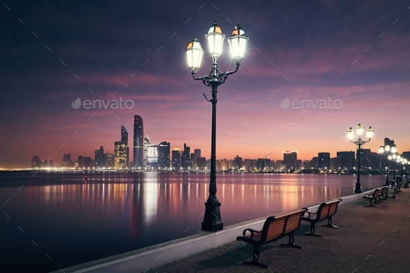 Cityscape Abu Dhabi at dawn - Stock Photo - Images