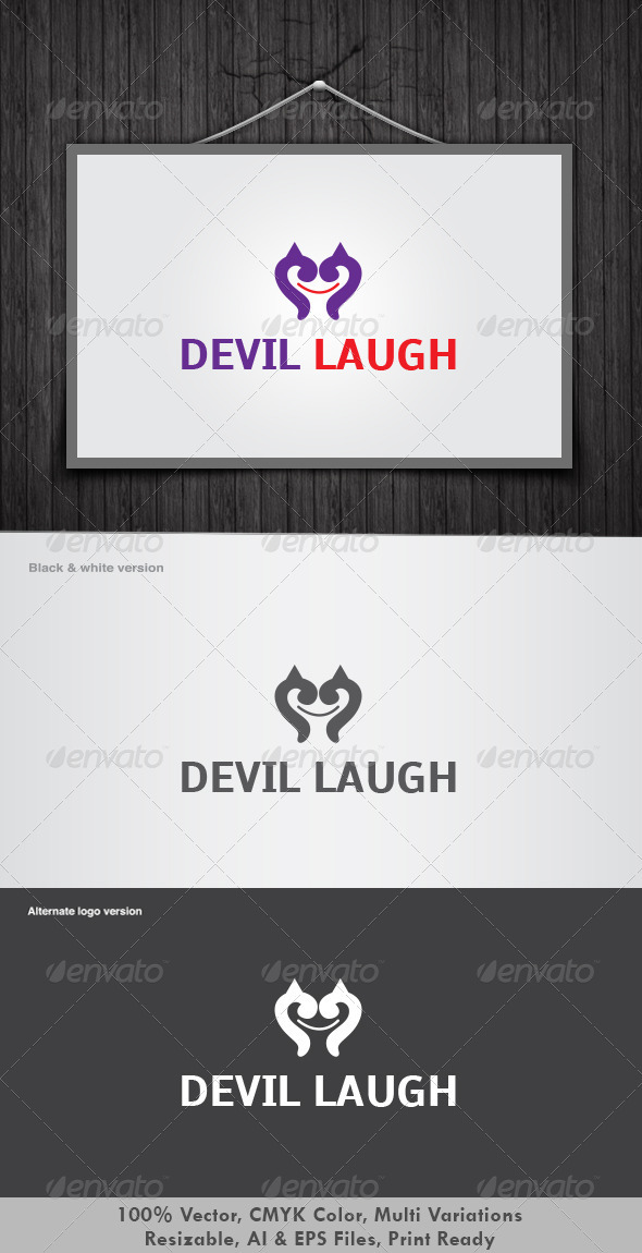 Devil Laugh Logo - Vector Abstract