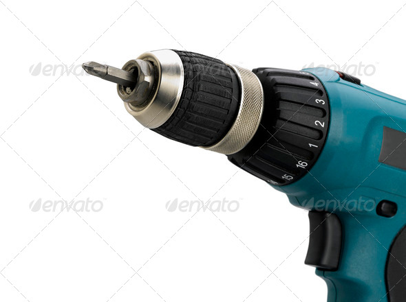 Closeup of electric screwdriver on white (clipping path) - Stock Photo - Images