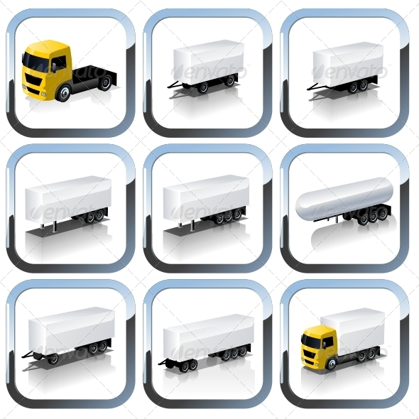 Vector truck icons set - Web Elements Vectors