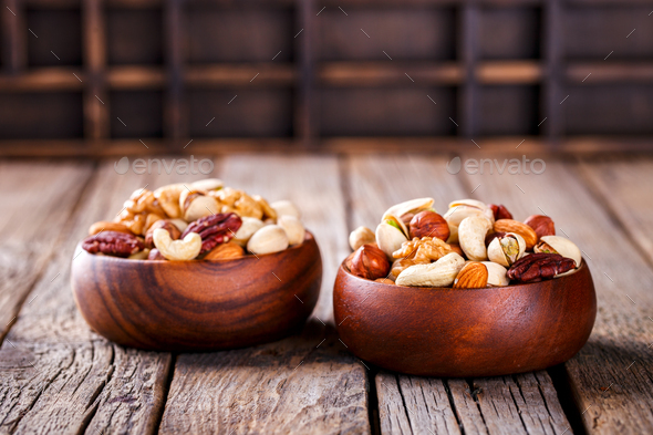 Nuts Mixed.Assortment, Walnuts.Concept of Healthy Eating - Stock Photo - Images
