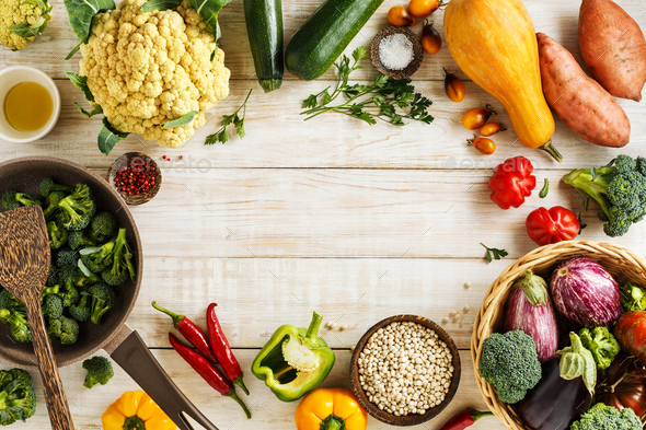 Various fresh vegetables and white beans for cooking - Stock Photo - Images