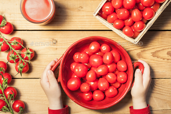 Fresh tomatoes preparation for healthy eating - Stock Photo - Images