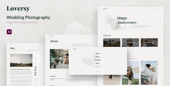 Loversy - Wedding Photography Adobe XD Template