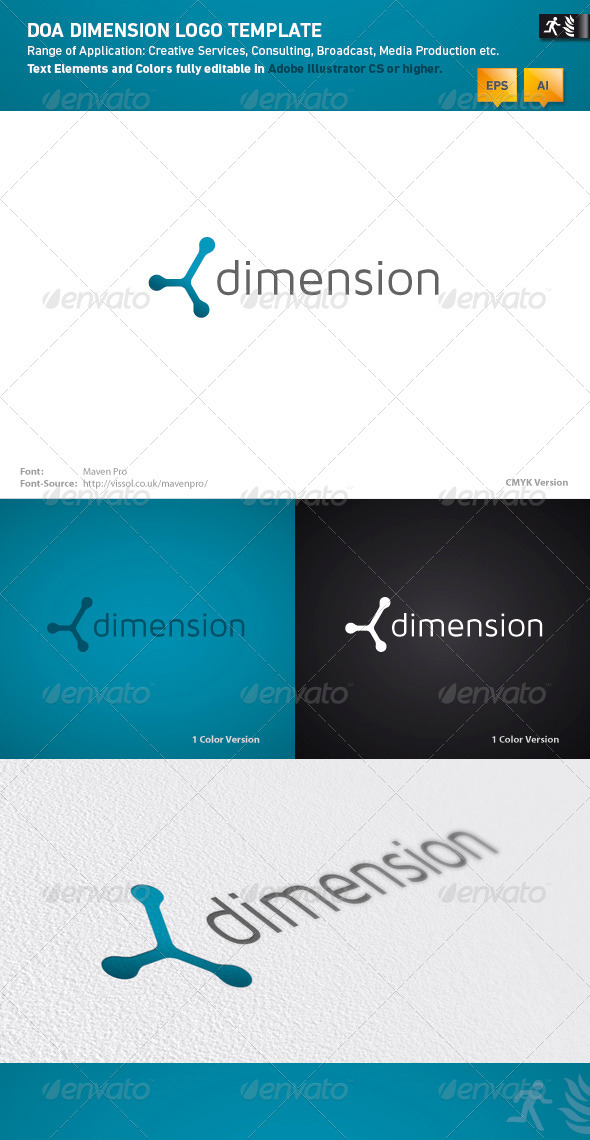 DOA Dimension Logo Template - Vector Abstract