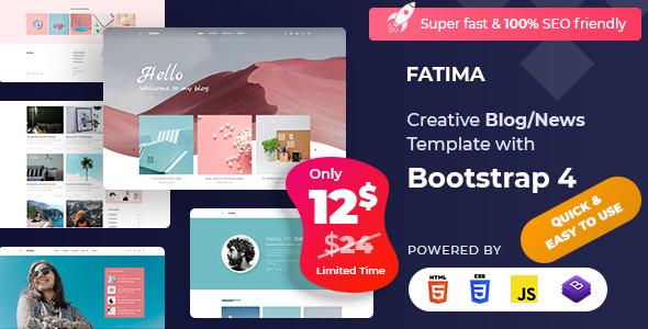 Fatima - Creative Personal Blog Bootstrap 4 Template