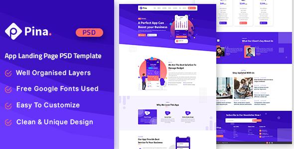 Pina - App Landing Page PSD Template