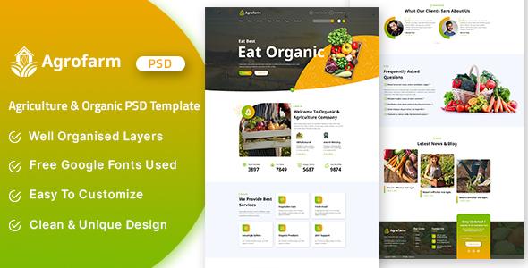 Agrofarm - Agriculture & Organic PSD Template