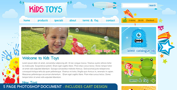 Free Download Kids Toys - PSD Template Nulled Latest Version