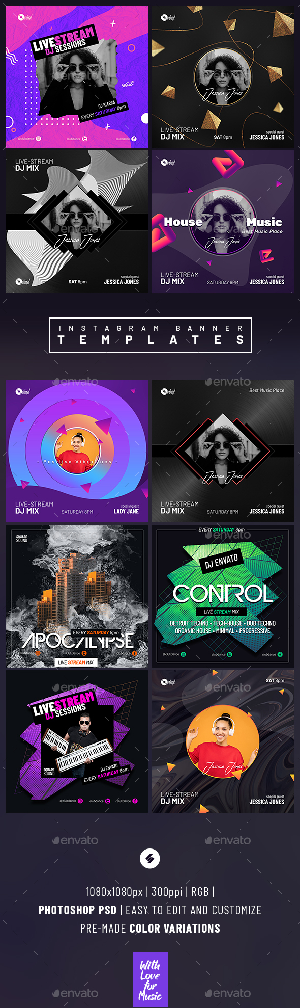 Live Stream DJ Session – Instagram Banner Templates