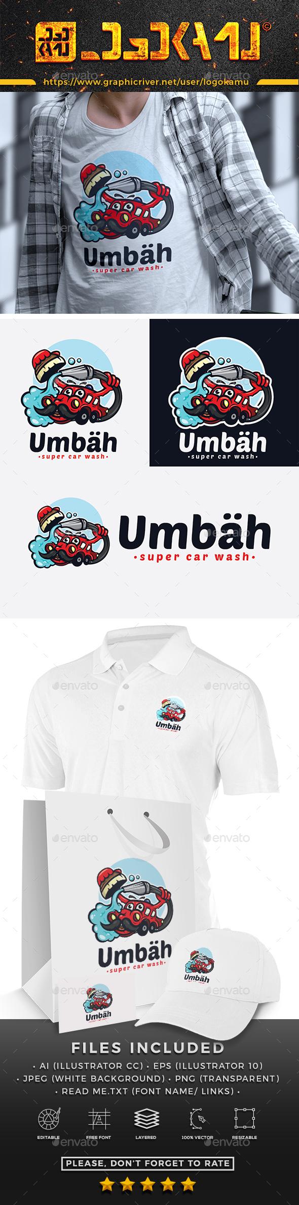 Car Wash Cartoon Logo