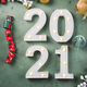 New year festive green background with 2021 number - PhotoDune Item for Sale