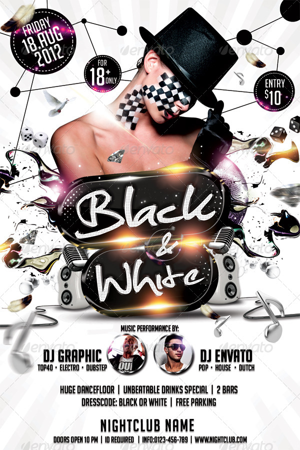 Black White Affair Flyer Template By Hermz GraphicRiver - Black and white flyer template free