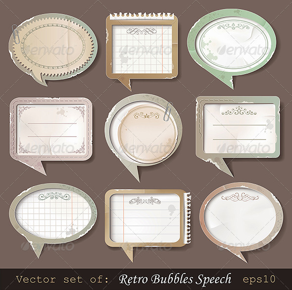 Retro paper bubbles speech - Retro Technology