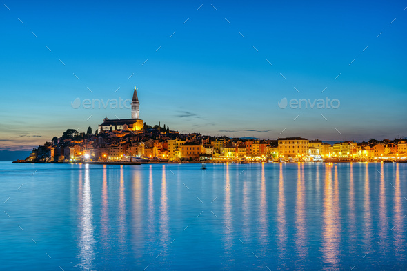 View of the beautiful old town of Rovinj - Stock Photo - Images