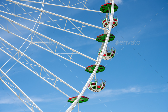 Detail of a coloful ferris wheel - Stock Photo - Images