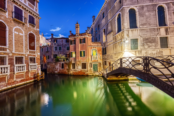 Canal in the old town of Venice - Stock Photo - Images