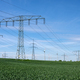 Power lines with wind turbines - PhotoDune Item for Sale