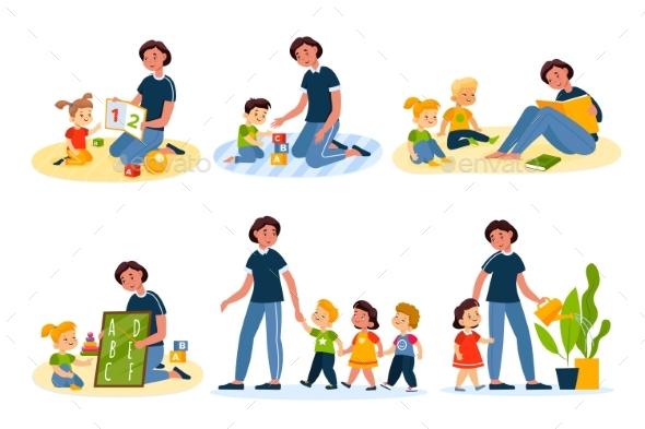 Kids in Kindergarten Preschool Children Girls
