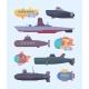 Underwater Boats Submarines Diving Ocean