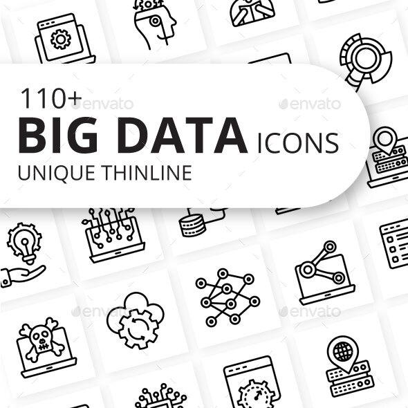 Big Data Outline Icons
