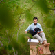 Business man with dog and laptop working outdoors in garden, home office concept - PhotoDune Item for Sale