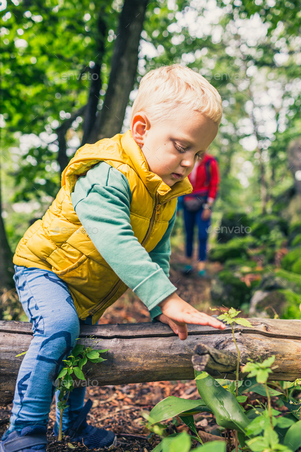 Young boy hiking with mother, family adventure - Stock Photo - Images