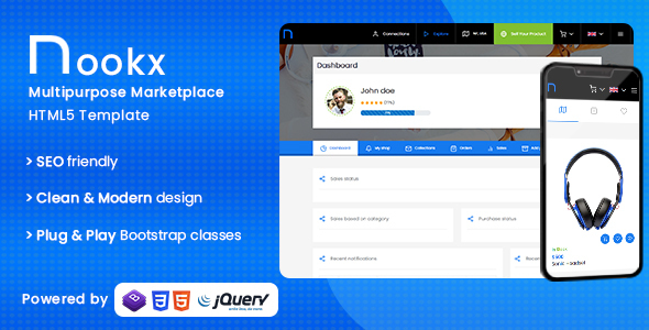 Incredible Nookx - Multipurpose Buy & Sell - Digital Marketplace Responsive HTML Template with admin panel