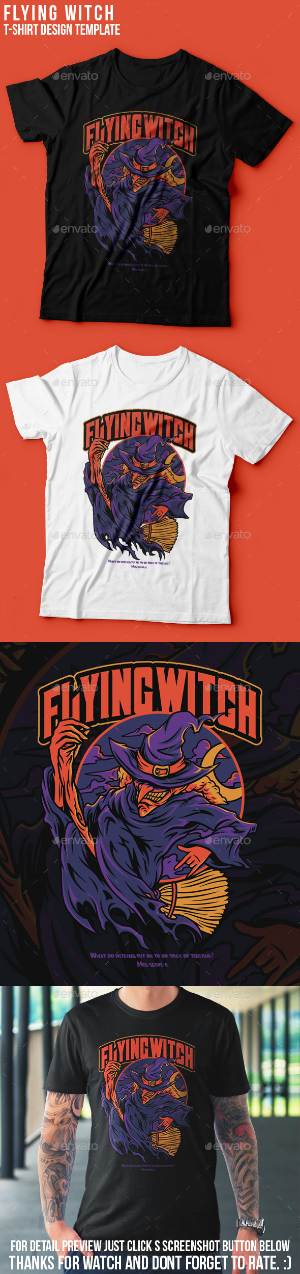 Flying Witch T-Shirt Design