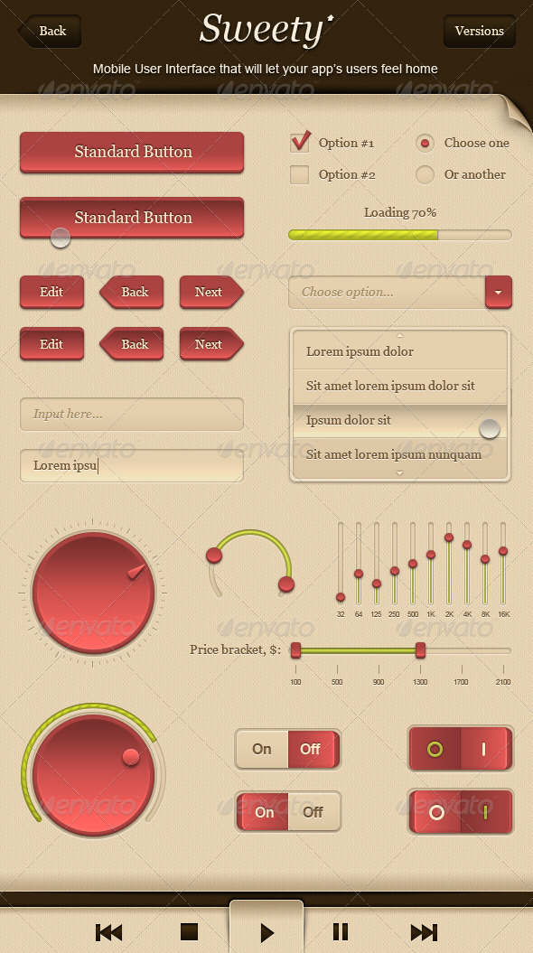 Sweety - GUI - Graphical User Interface - User Interfaces Web Elements