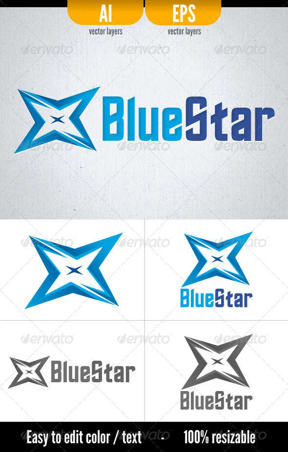 Blue Star - Logo Template - Vector Abstract
