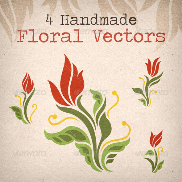 4 Handmade Red Rose Flower Vectors - Decorative Vectors