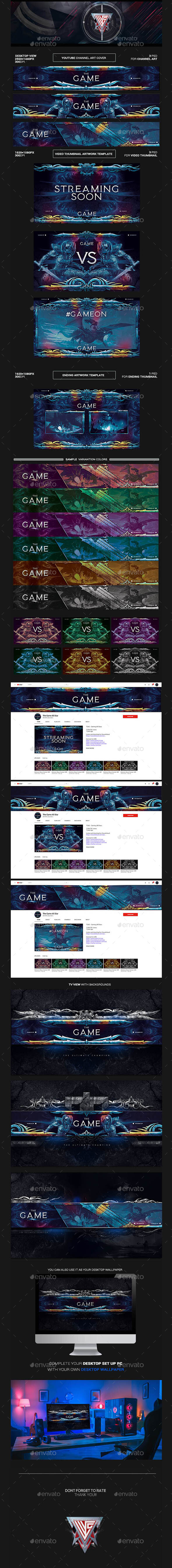 The Game All Star Gaming Live Steam Youtube Channel Art/Video Thumbnail and Ending Video Template